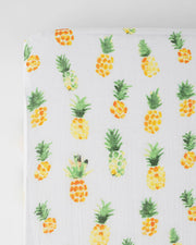 Cotton Muslin Crib Sheet - Pineapple