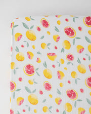 Cotton Muslin Crib Sheet - Grapefruit
