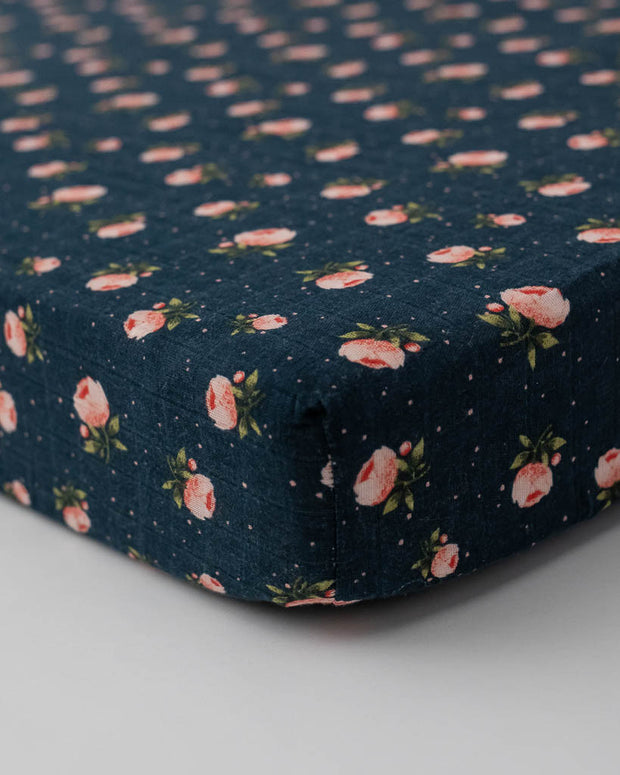 Cotton Muslin Crib Sheet - Midnight Rose