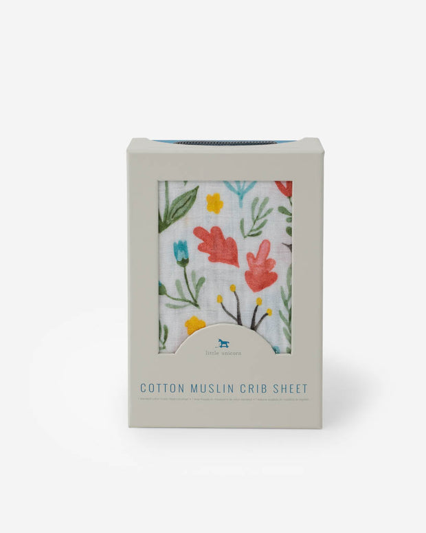 Cotton Muslin Crib Sheet - Meadow