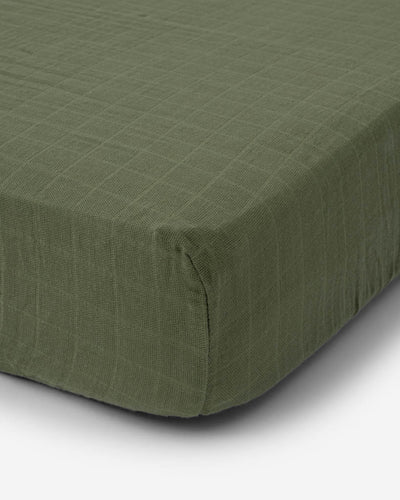 Cotton Muslin Crib Sheet - Fern