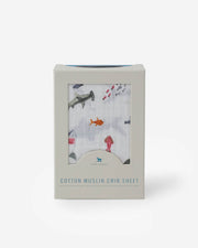 Cotton Muslin Crib Sheet - Shark