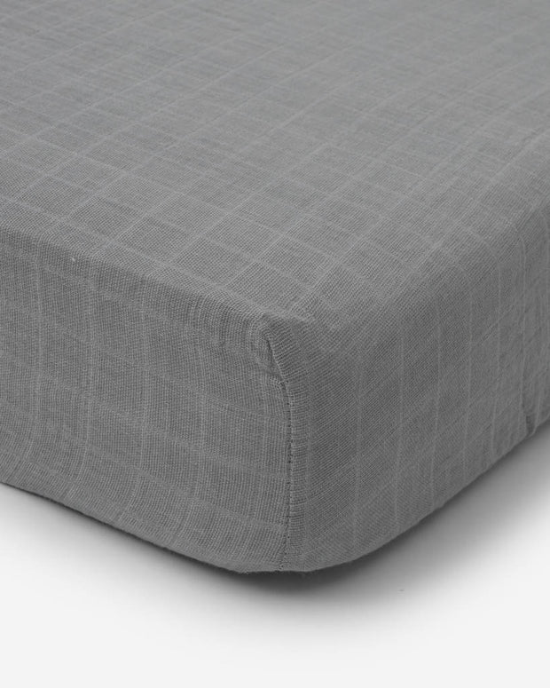 Cotton Muslin Crib Sheet - Nickel