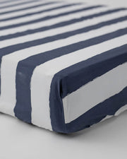 Percale Crib Sheet - Navy Stripe