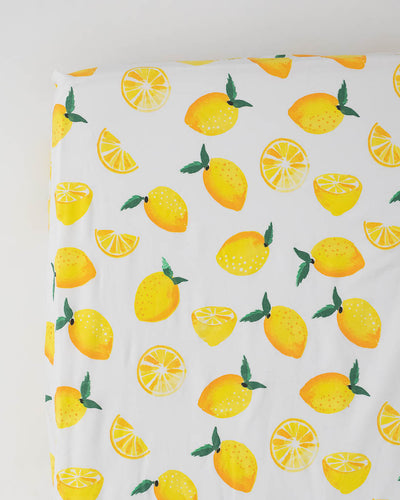 Percale Crib Sheet - Lemon