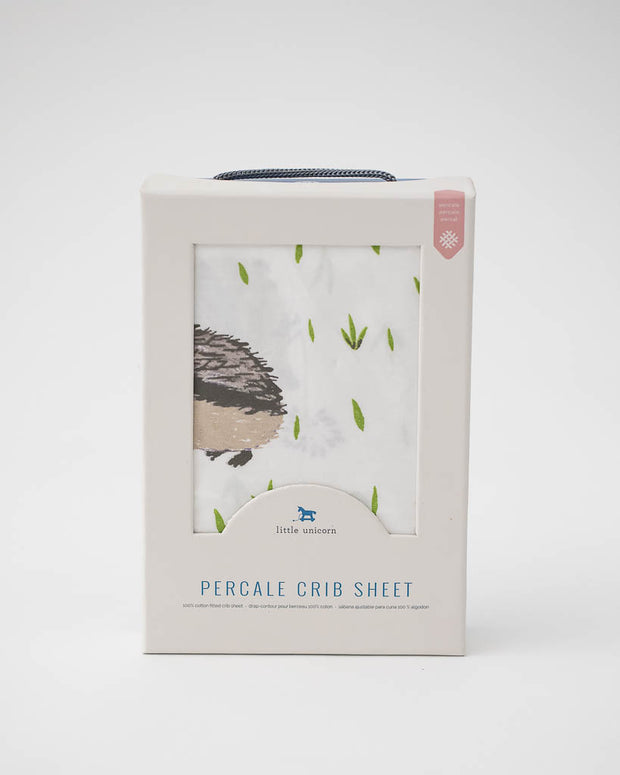 Percale Crib Sheet - Hedgehog