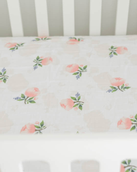 Little Unicorn Brushed Muslin Crib Sheet - Watercolor Rose