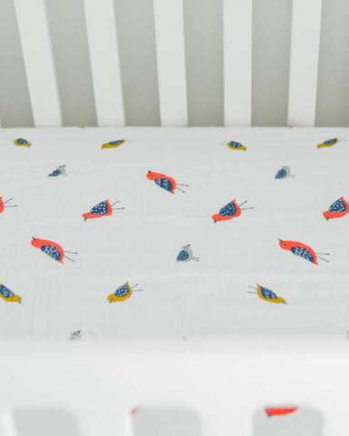 Brushed Muslin Crib Sheet - Little Wings