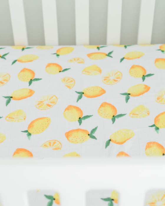 brushed muslin crib sheet lemon