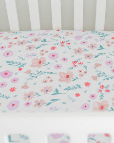 Brushed Muslin Crib Sheet - Morning Glory