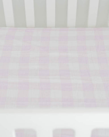 Brushed Muslin Crib Sheet - Lilac Plaid