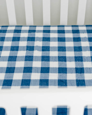 Brushed Muslin Crib Sheet - Jack Plaid