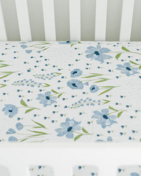 Brushed Muslin Crib Sheet - Blue Windflower