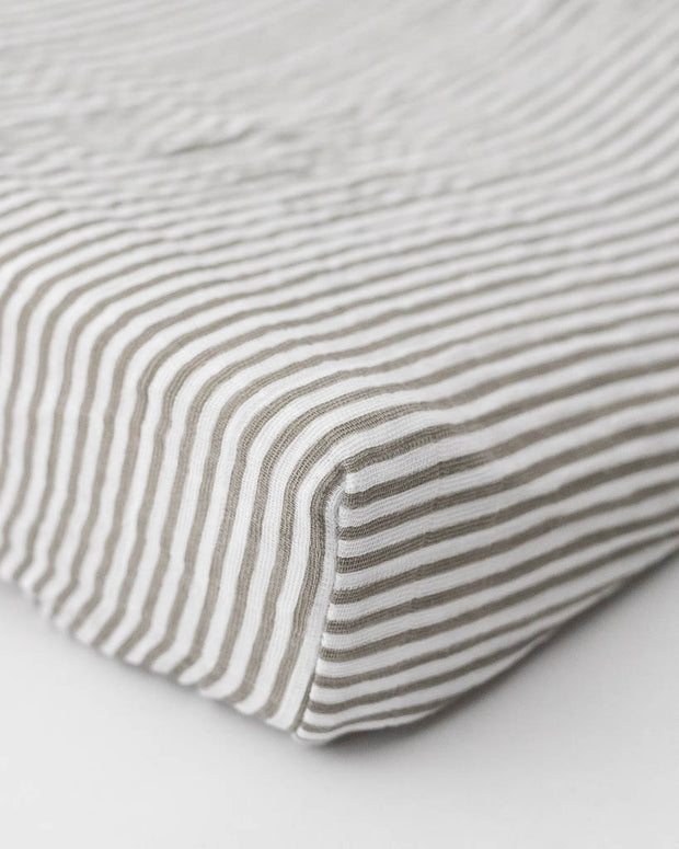 Cotton Muslin Changing Pad Cover - Grey Stripe