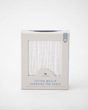 Cotton Muslin Changing Pad Cover - White