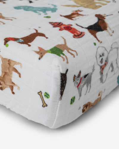 Cotton Muslin Changing Pad Cover - Woof