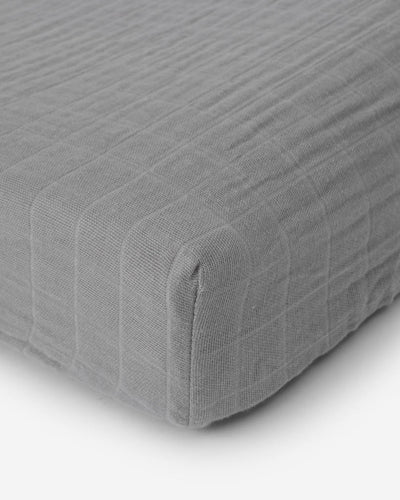 Cotton Muslin Changing Pad Cover - Nickel