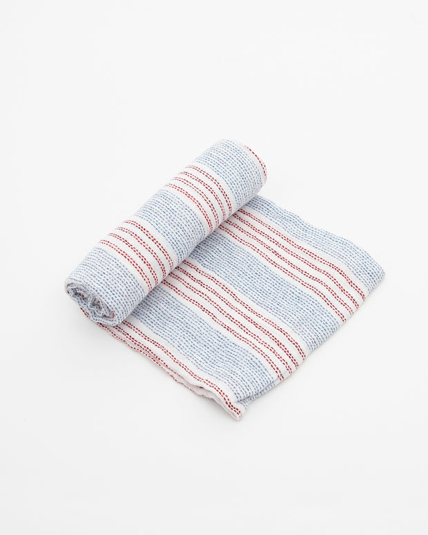 Cotton Muslin Swaddle Blanket - Stitch Stripes