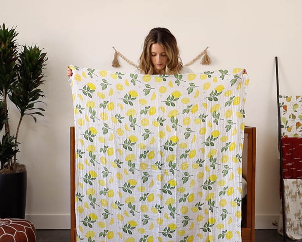 Cotton Muslin Swaddle Blanket - Tropical Leaf