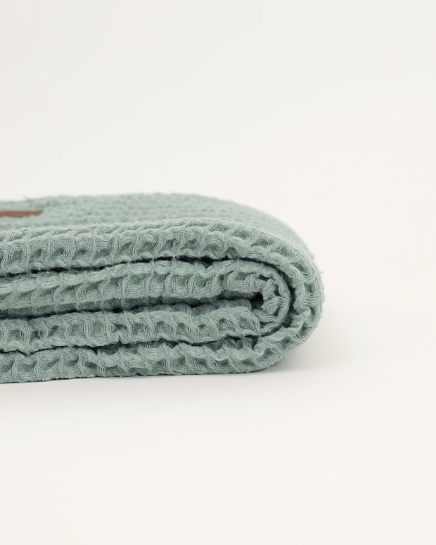 Organic Cotton Waffle Knit Baby Blanket - Light Green