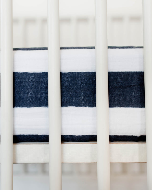Cotton Muslin Crib Sheet - Navy Stripe