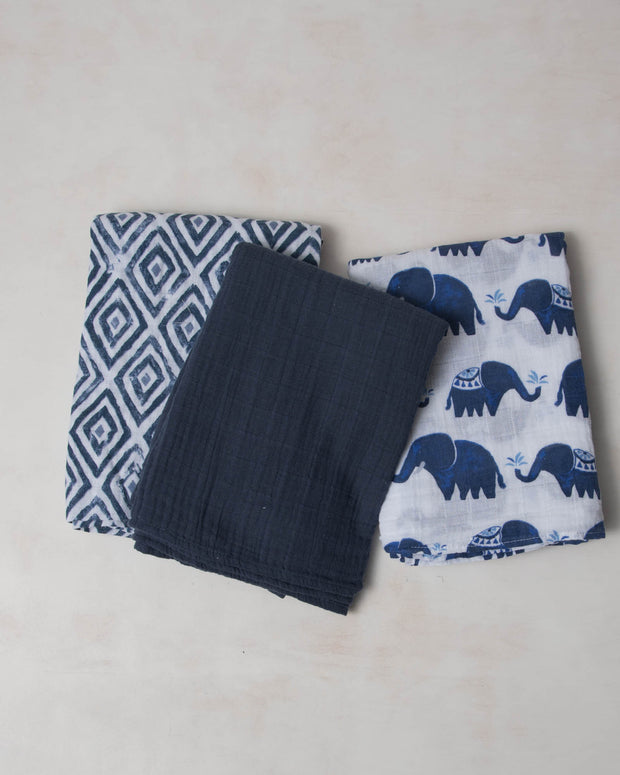 Cotton Muslin Swaddle Blanket Set - Indie Elephant
