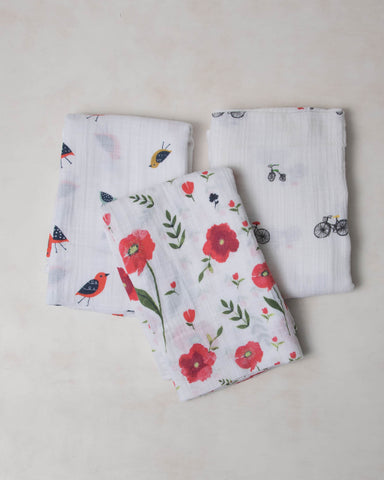 Cotton Swaddle Set - Summer Poppy