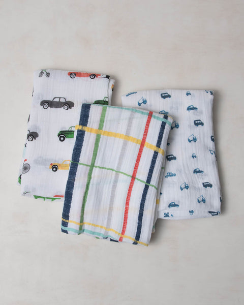 Cotton Swaddle Set - Traffic Jam