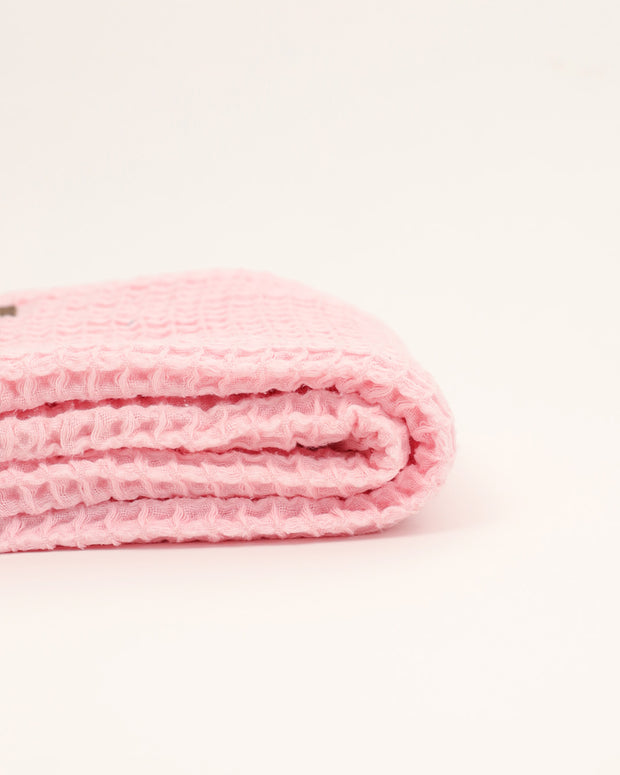 Organic Cotton Waffle Knit Baby Blanket - Pink