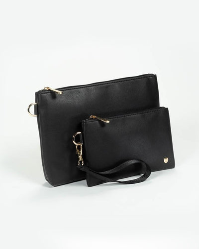 Vegan Leather Pouch Set - Black