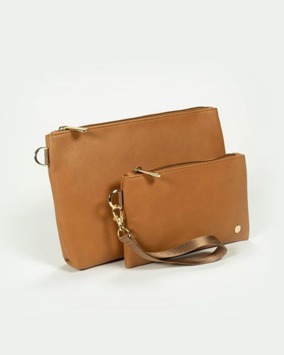 Vegan Leather Pouch Set - Cognac