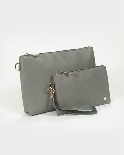 Vegan Leather Pouch Set - Grey Umber