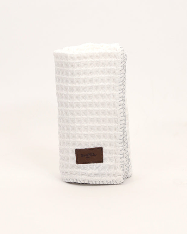Organic Cotton Waffle Knit Baby Blanket - White