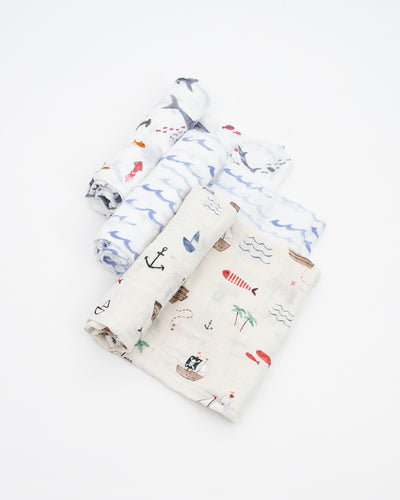 Cotton Muslin Swaddle Blanket Set - Shark 2 Set