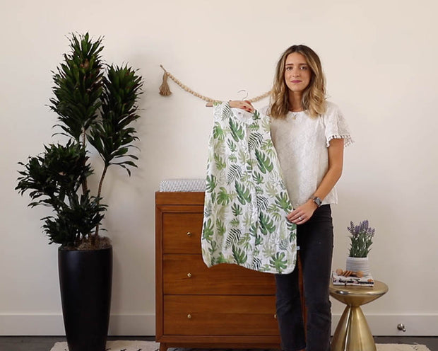 Cotton Muslin Sleep Bag - Tropical Leaf
