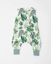 Cotton Muslin Sleep Romper - Tropical Leaf