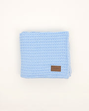 Organic Cotton Waffle Knit Baby Blanket - Blue