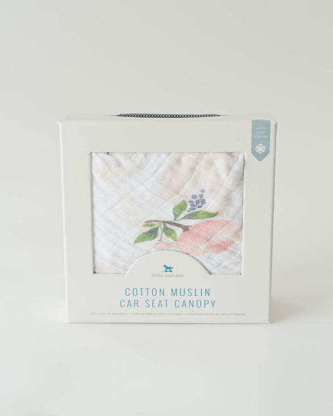Cotton Muslin Car Seat Canopy - Watercolor Rose