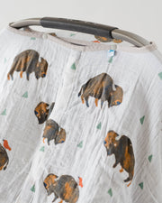 Cotton Muslin Car Seat Canopy - Bison