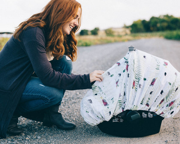 Cotton Muslin Car Seat Canopy - Rolling Hills