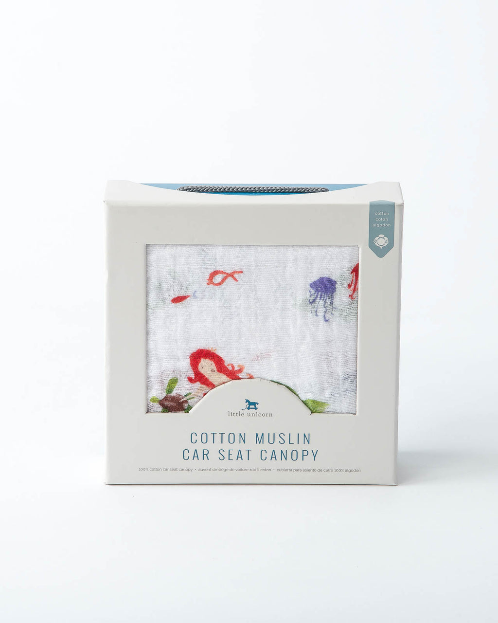 Cotton Muslin Car Seat Canopy - Mermaid