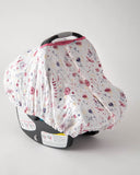 Cotton Muslin Car Seat Canopy - Fairy Garden
