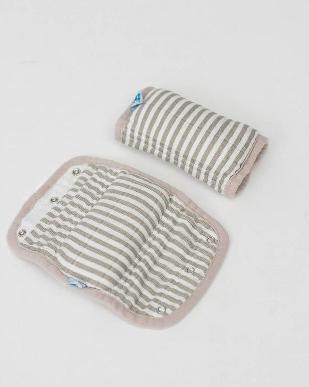 Cotton Muslin Strap Covers - Grey Stripe