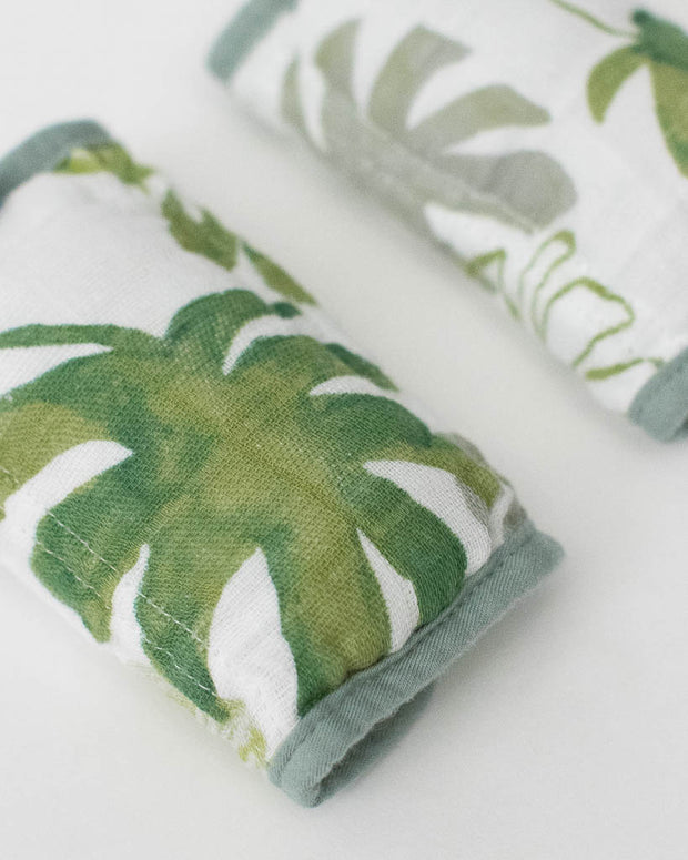 Cotton Muslin Strap Covers - Tropical Leaf