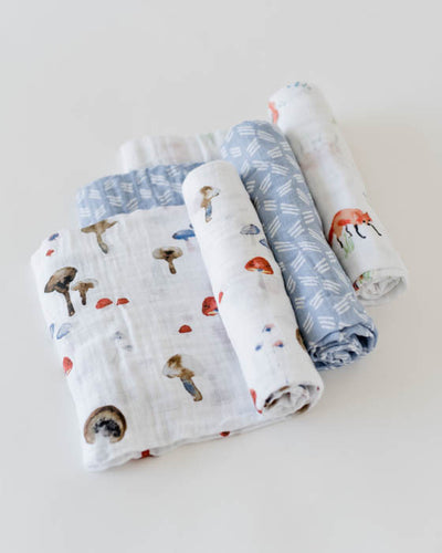 Cotton Muslin Swaddle Blanket Set - Fox