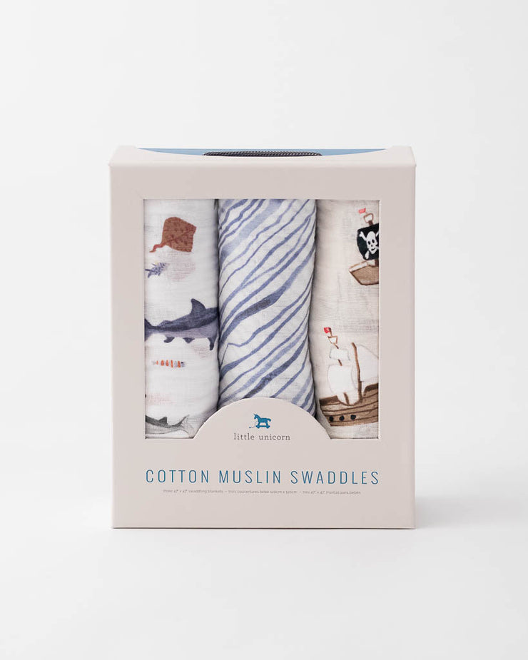 Cotton Muslin Swaddle Blanket Set - Shark