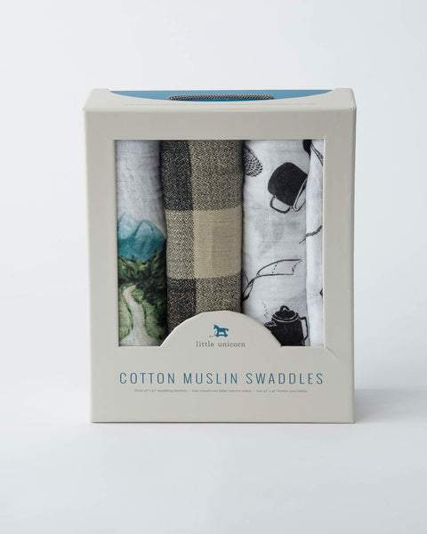 Cotton Swaddle Set - Happy Camper