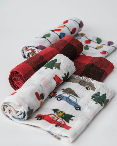 Cotton Muslin Swaddle Blanket Set - Holiday Haul