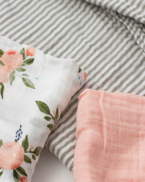 Cotton Muslin Swaddle set - Watercolor Roses