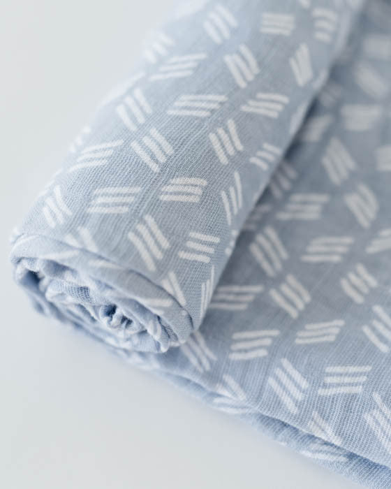 Cotton Muslin Swaddle Blanket - Blue Grass
